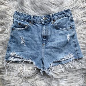 Topshop Moto Mom Destroyed High-Rise Cutoff Shorts